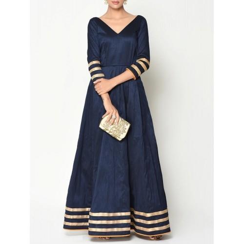 a0ee53d891 Buy TrueBrowns Navy blue Silk Blend Floor Length Gown online ...