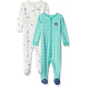 Carter's Gray & Sky Blue Cotton Striped Sleep and Play (Pack of 2)