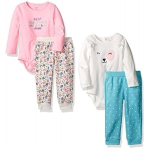 Carter's Girls' 4-Piece Bodysuit and Pant Set