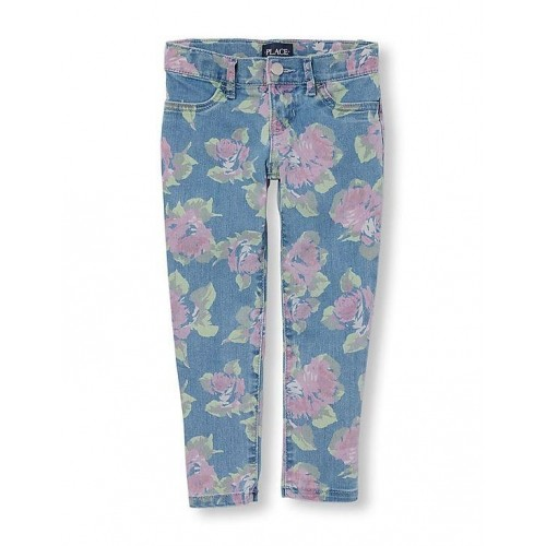 4a44b3e70d019 Buy The Children's Place Blue Cotton Rose Print Denim Jeggings online |  Looksgud.in