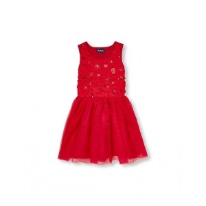 The Children's Place Red Cotton Jersey Sequin Flower Dress