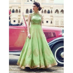 Light Green Raw Silk Embroidered Party Wear Gown