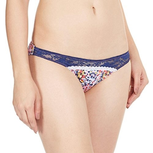Bwitch Navy Blue Lace Cotton Printed Casual Panty