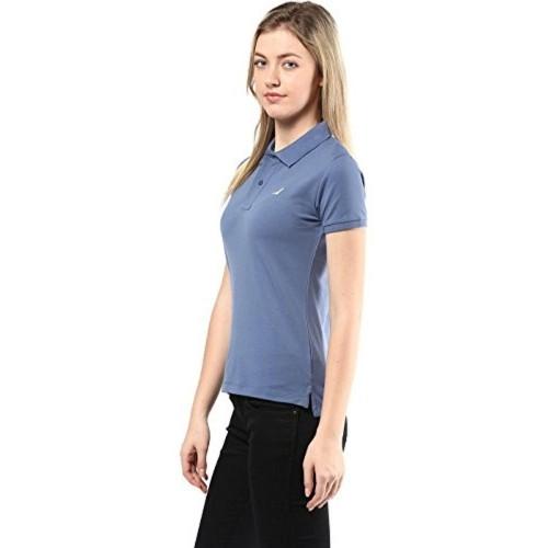 21193e04aa4e9 ... American Crew Women s Polo Collar Solid With Applique T-Shirt (Blue) ...