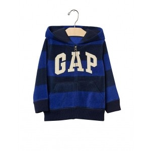 GAP Blue Striped Polyester Full Sleeve Boys Hoodie
