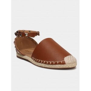 abof Brown Faux Leather Flat Sandals