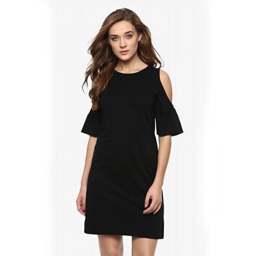 Miss Chase Black Cotton Solid Cold Shoulder A-Line Dress