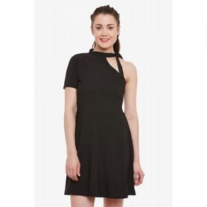 Miss Chase Black Polyester Solid A-Line Dress