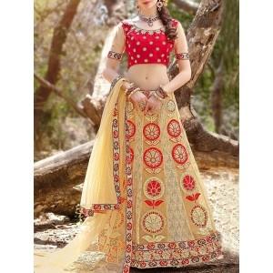 Palash Fashion beige net saree lehenga