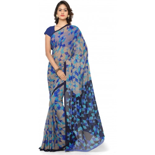 Vaamsi blue Chiffon Printed Daily Wear Saree
