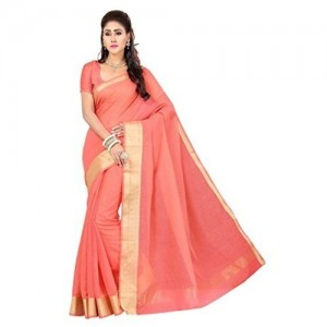 Rani Saahiba Women\'s Synthetic Saree (SKR1351__Orange_Free Size)