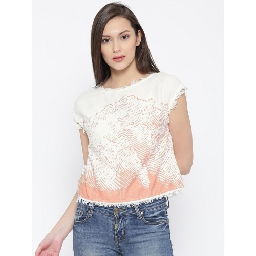 Vero Moda Off-White Printed Crop Top with Fringes