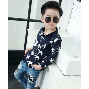 Petite Kids Navy Blue Cotton Printed Casual Shirt