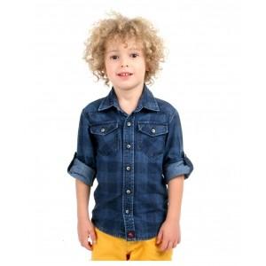 Cherry Crumble California Blue Cotton Checked Denim Shirt