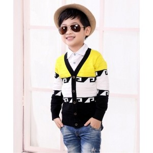 Superfie Yellow And Black Cotton Colour Block Cardigan