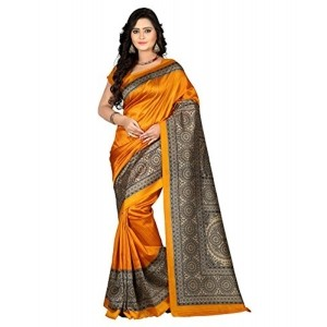 E-VASTRAM Womens Art Mysore Printed Silk Saree (NS5A_yellow)