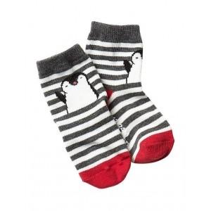 GAP Grey & White Striped Cotton Nylon Unisex Socks