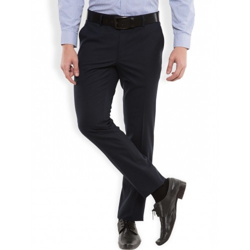 c92682ca6 Buy Black coffee Men Navy Solid Slim Fit Formal Trousers online ...