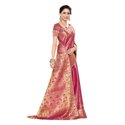 Mimosa Women's Traditional Art Silk Saree Kanchipuram Style, color :Pink(3245-197-SD-PNK)