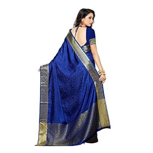 Mimosa By Kupinda Women's Tusser Silk Saree Kanjivaram Style Color :Navy Blue (3196-2073-NVY)