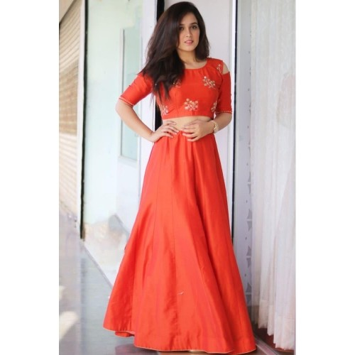 Bunaai Orange Silk Embroidered Cold Shoulder Lehenga