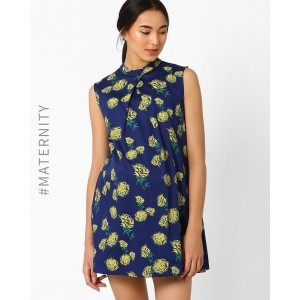 AJIO Blue Floral Print Pleated A-Line Maternity Dress