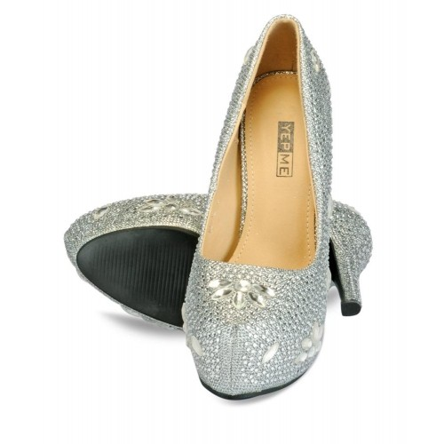 6b0e9a0af05 Buy Yepme Silver Slip-On Heels Bellies online | Looksgud.in