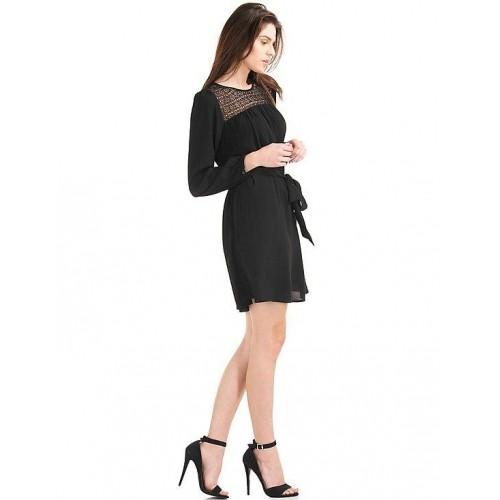 82f5d663c5 Home · Women · Clothing · Western Wear · Dresses. GAP Black Rayon Crochet  Panel Tie Belt Dress ...