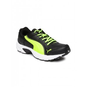 Puma Black & Fluorescent Green Running Shoes