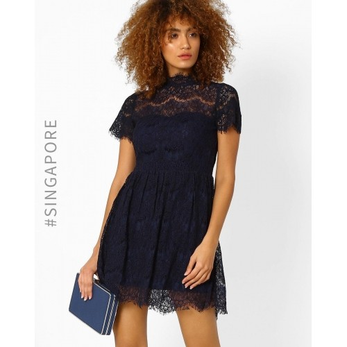 fd67d632b2f Buy MDS Navy Blue Fit   Flare Lace Dress online