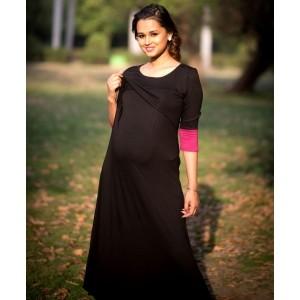 Momzjoy Black And Pink 3/4th Sleeves Lift Up Nursing Dress
