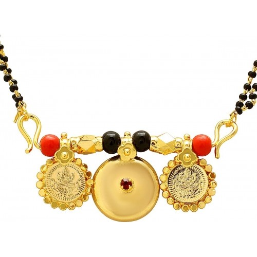 3aba81410b993 Buy Memoir Gold plated CZ studded Laxmi coin and two wati for Women ...