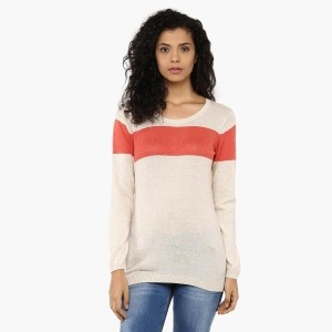 FAME FOREVER Beige Full Sleeves Colorblock Sweater