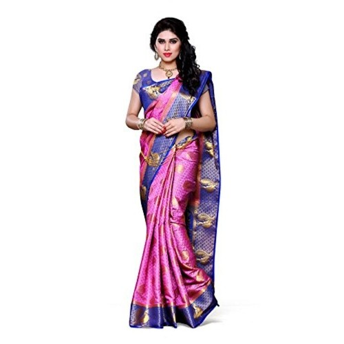 Mimosa Women's Traditional Art Silk Saree Kanjivaram Style With Blouse Color:Pink(3301-200-PINK-RBLU )