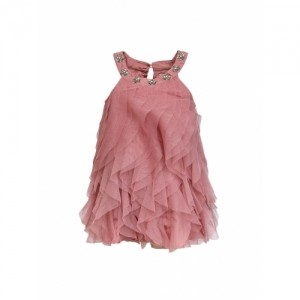 A LIttle Fable Pink Waterfall Halter Neck Shift Dress