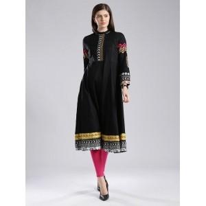 W Black Cotton Printed Anarkali Kurti