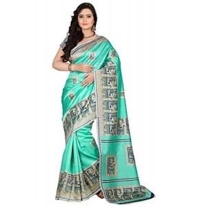 e-VASTRAM Womens Art Mysore Printed Silk(NS3B_Green)