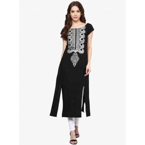 Ziyaa Black Embellished Kurta