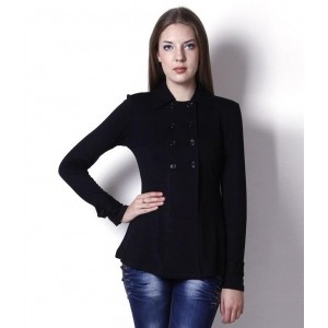 The Gud Look Black Polyester Blend Jackets