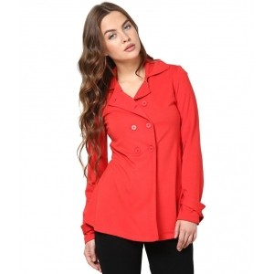 The Gud Look Red Polyester Blend Jackets