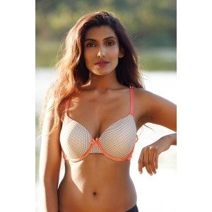 Zivame Orange & Green Printed Underwired Lightly Padded T-shirt Bra