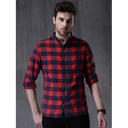 a52ba0710 Buy WROGN Navy Blue & Red Cotton Checked Casual Shirt online ...