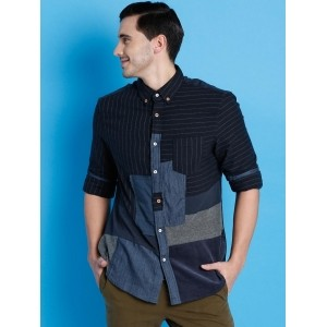 Desigual Navy Blue Striped Patch Detail Casual Shirt