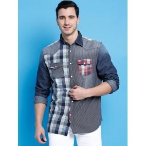 Desigual Blue Cotton Striped Checked Chambray Denim Shirt
