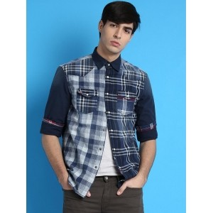Desigual Navy Blue Cotton Checked Casual Shirt