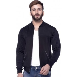 Tinted Navy Blue Polyester Full Sleeve Solid Jacket