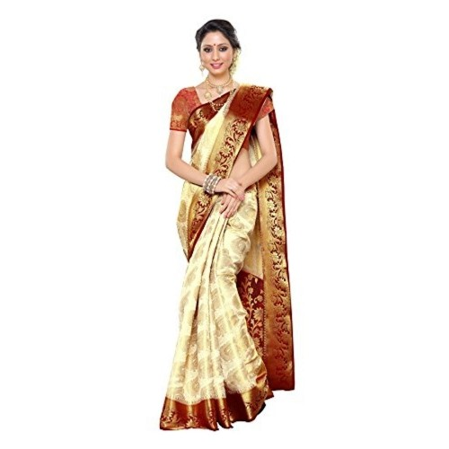 Mimosa Women's Traditional Art Silk Saree Kanchipuram Style, color :Off White(3247-201-HEHT-MRN)