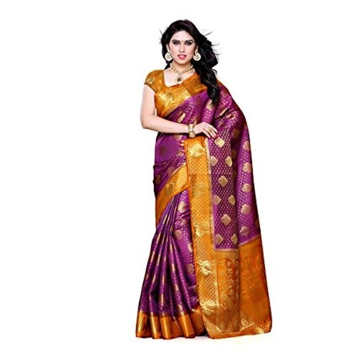 c62c1c65a2bc8a ... Mimosa Women's Traditional Art Silk Saree Kanjivaram Style With Blouse  Color:Mejantha(3301- ...