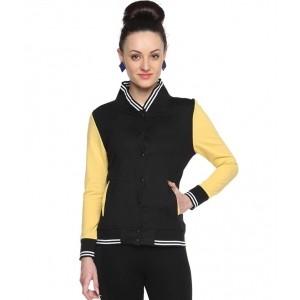 Campus Sutra Black Cotton Jackets
