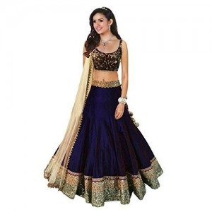 Maxthon Fashion Blue & Cream Silk & Net Lace Work Lehengas Choli